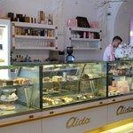 The counter at Aida Cafe