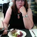 Lynda enjoying one of the many lovely sweets