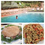 Top: Refreshing swim in pool after a long day sightseeing. Bottom: Light dinner at BG on propert