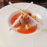Strawberry panacotta, tropical jelly, strawberry & meringue