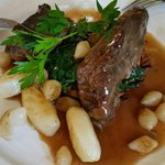 Beef bourguignon, a generous melt in the mouth portion with lovely vegetables.