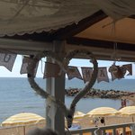 View out to the sea with our wedding bunting still up from the night before...