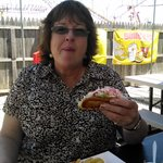 Mom enjoying her lobster roll.