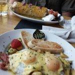 Sunday Brunch - breakfast burrito & corned beef hash with eggs benedict