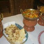 Vegetable curry, Aloo Gobi,  Peshwari Nan & Potato Gobi