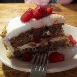 Rhubard strawberry walnut spice cake...oh my!
