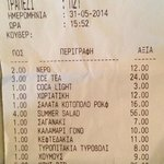 """The bill from Nammos indicating the 6 euro pp charge for bread and """"dip""""."""