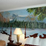 beautiful mural on wall of room