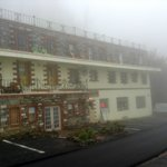 Half of the hotel on a foggy day