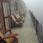 The balcony on a foggy April day