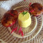 Tamarillo Creme Brulee with lemongrass icrecream - delicious