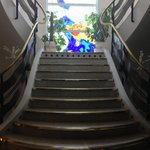 Stair case from lower dining room