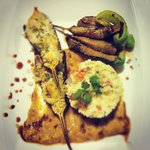 Grill eggplant stuff with couscous and vegetables topped with mozzarella ... Served with creamy