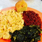 "Mac and ""cheese""...great! BBQ textured vegetable protein, corn bread and collards."