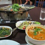 Tom Yum, steamed fish, mango salad and morning glory