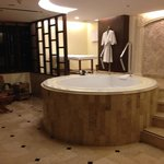 The room with the sauna Jacuzzi tub