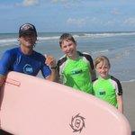 Kids with their surfing instructor, Josh