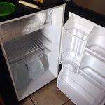 Mini fridge in the room..