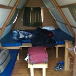Inside our glamping hut.