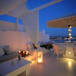 Outdoor lounge by night