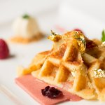 Belgian sweet waffle with strawberry souffle and real gold flakes