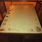 Bajo el mantel. Aún peor! Under the table cloth even worse!