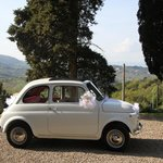 A wedding with a vintage Fiat 500