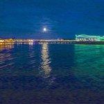 Full moon over the new pier at Weston