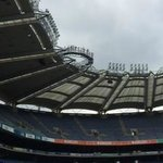 view of the overhang on the roof from pitch sideline