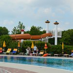 one of the water slides in pool area.