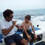 Oswaldo and Christopher during their pre-dive briefing