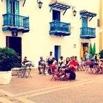 Outside EL BARÓN the beautiful Plaza San Pedro Claver #elbaroncafe #cocktailbar #cartagena #colo