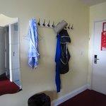 Hangers in a 12 bed dorm