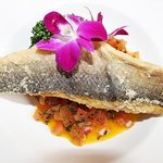 grilled sea bass with sweet corn and tomatoes salsa