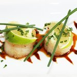 grilled scallop ceviche with lime dressing, summer menu