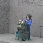 Scottish terrier Fala sculpture, Franklin Delano Roosevelt Memorial, April 2014