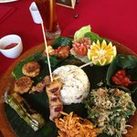 The bali special: a platter with many local delicacies. Good!