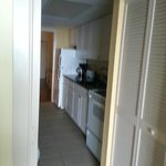 """view of kitchen """"hallway"""" from living room"""