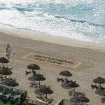Anuncio de Bienvenida en la playa, buen detalle