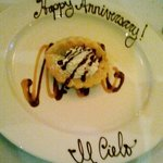 The chocolate almond tart decorated for our anniversary.