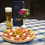 Pizza Vesuvio and local draft beer