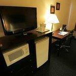 Refrigerator,Microwave,Flat Screen TV,Desk & Desk Chair