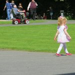A small Irish person enjoying the grounds at Kilkenny Castle
