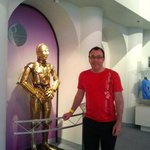 This is C3PO from Star Wars, one of the several famous Robots on display.