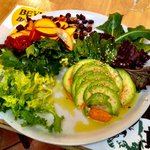 Avocado carpaccio with peach salad