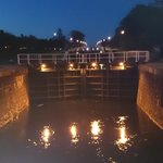 Night view of lock gates