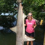 Mrs Slayer and her 1st Place Shark from the 29th Annual Fishin' Franks Shark Tournament 061414