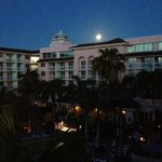 Moon setting over the resort, view from our north tower balcony