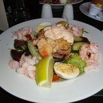 Crab & Prawn salad, with new potatoes, coleslaw & bread