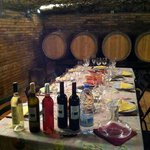 Lunch in the wine cellar during Wine Trails tour